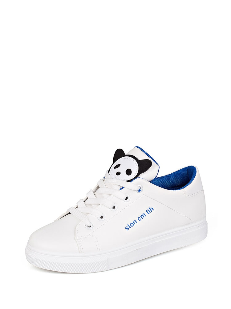 9697625cda Patch Decor Lace Up Sneakers EmmaCloth-Women Fast Fashion Online