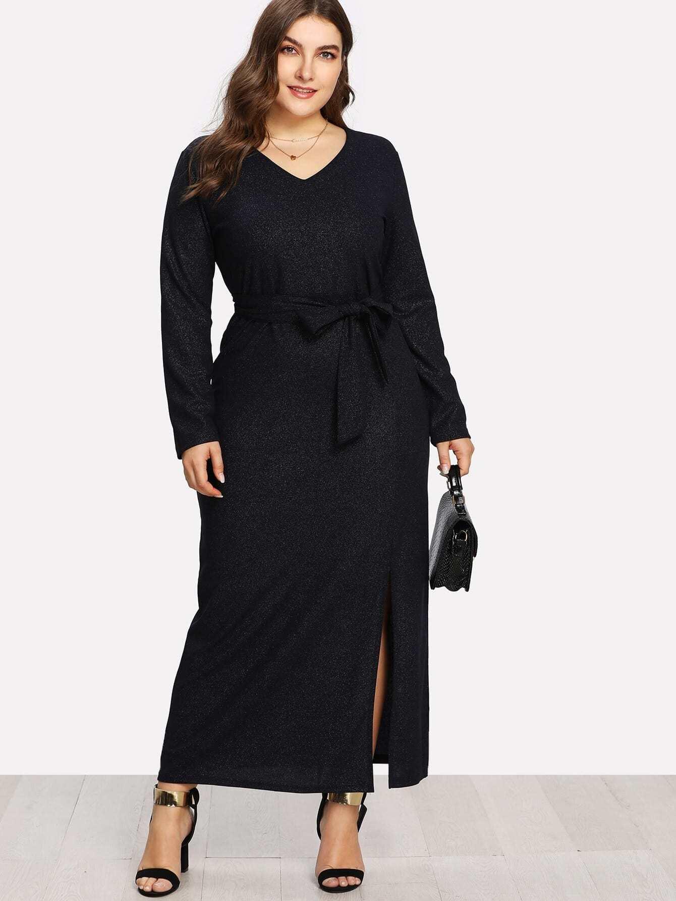 Plus V Neckline Slit Hem Sparkle Dress