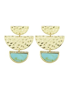 Lakeblue Geometric Semicircle Stone Drop Marble Earrings