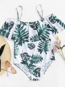 Palm Print Ruffle One Piece Swimsuit