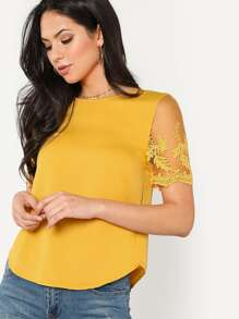 Flower Mesh Sleeve Curved Hem Blouse