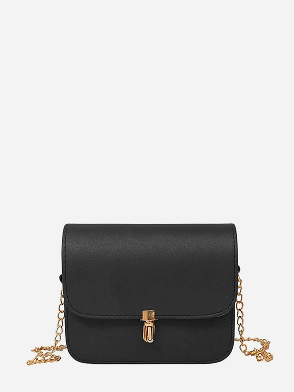 PU Flap Crossbody Bag With Chain, Black