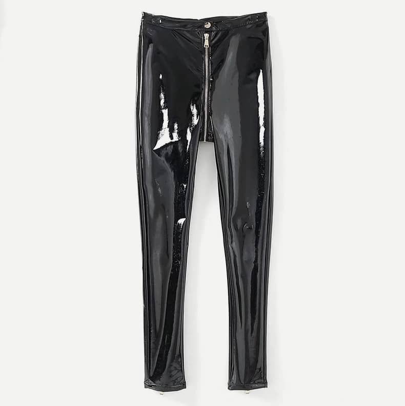 - Zipper Fly Patent Leather Pants