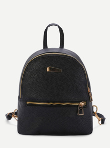 Metal Detail Random Zipper Direction PU Backpack