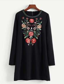 Embroidered Flower Tunic Dress