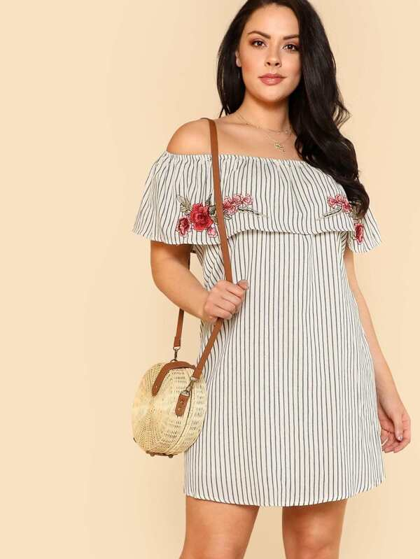 3a1a66c983 Plus Striped Off Shoulder Shift Dress with Floral Embroidery