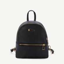 SHEIN | Metal Detail Random Zipper Direction PU Backpack | Goxip