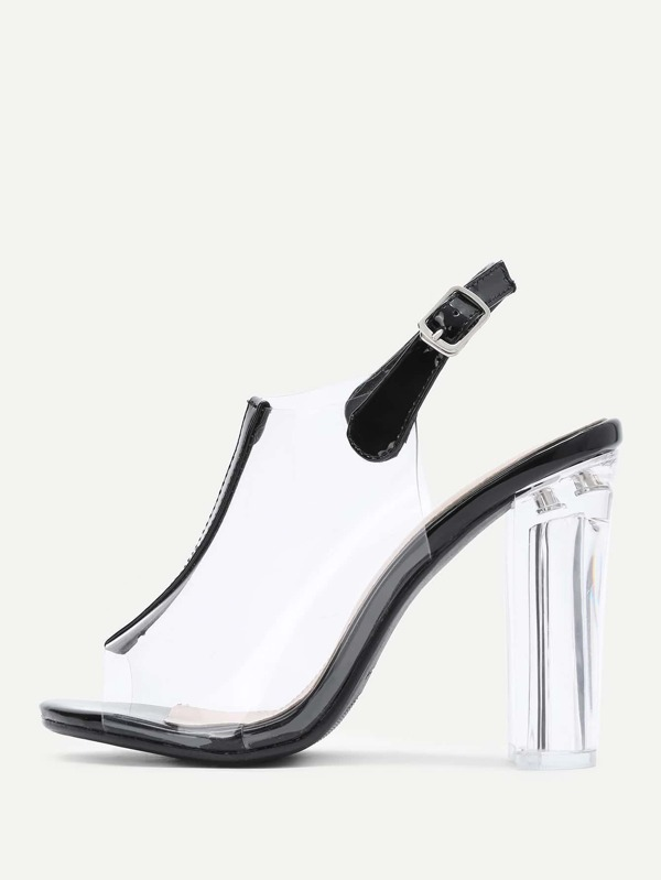 cc5edac335 Peep Toe Clear Design Block Heeled Pumps | SHEIN IN