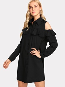 Open Shoulder Ruffle Trim Shirt Dress