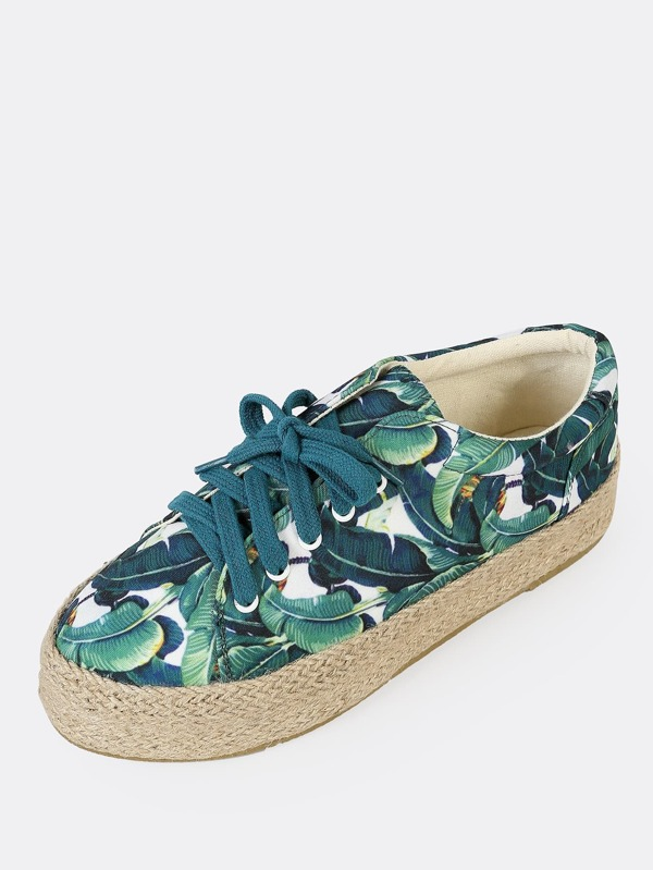 9193aad83c3d Cheap Tropical Print Espadrille Trim Flatform Sneakers GREEN MULTI for sale  Australia