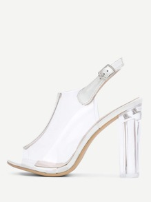 Peep Toe Clear Design Block Heeled Pumps