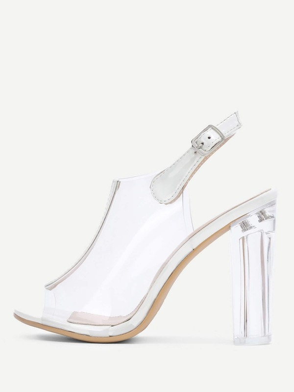 479d780928 Peep Toe Clear Design Block Heeled Pumps | SHEIN