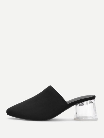 Square Toe Clear Heeled Suede Heeled Mules