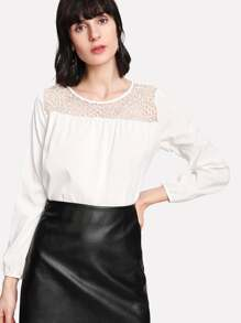 Hollow Out Lace Insert Blouse