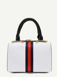 Striped Design PU Shoulder Bag