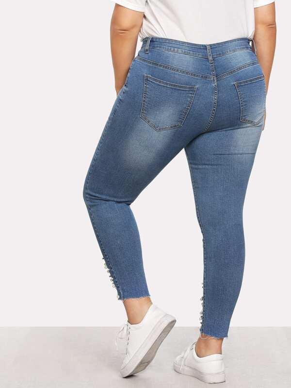 7e661dd20ca Plus Pearl Beaded Raw Hem Jeans