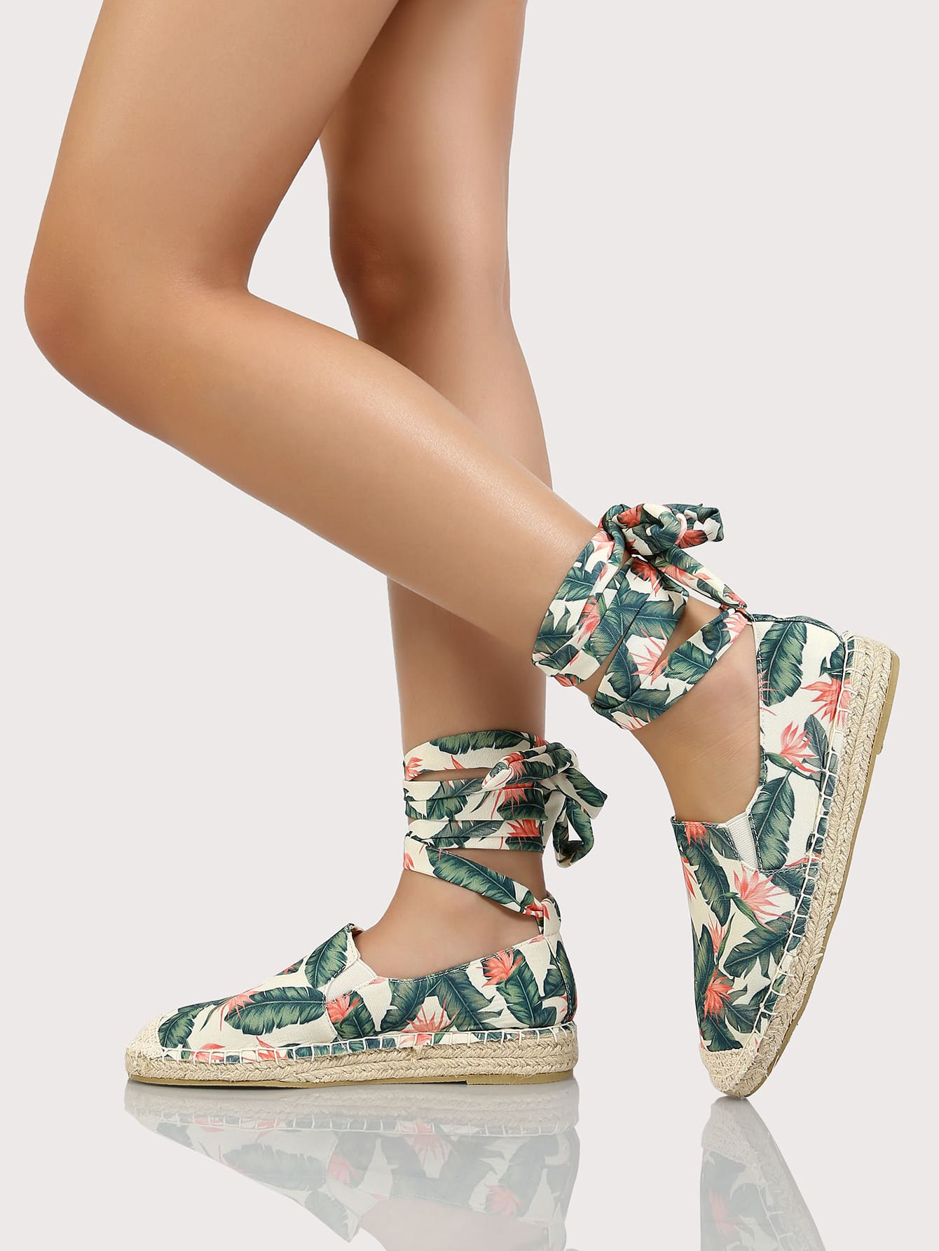 5f98c907951 Tropical Espadrille Lace Up Flatform Loafers GREEN CORAL -SheIn(Sheinside)