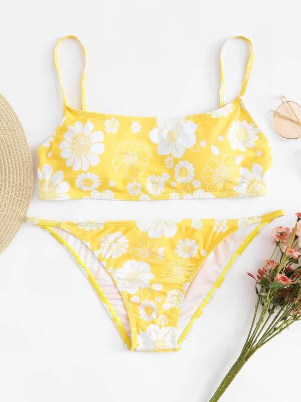 e2be289c96 Floral Print Spaghetti Strap Bikini Set | SHEIN