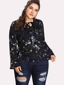 Plus Botanical Print Ruffle Blouse