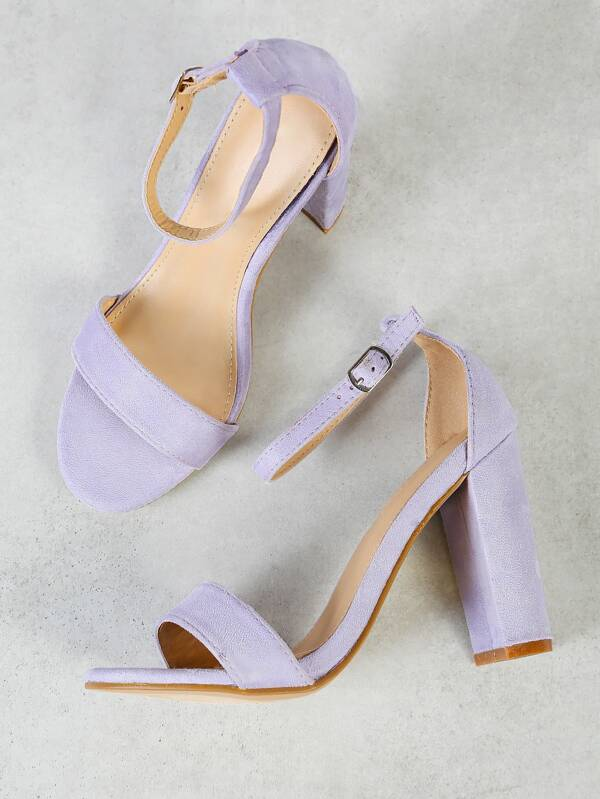 6f97de1272 Single Band Open Toe Faux Suede Block Heel with Thin Ankle Strap LILAC |  SHEIN UK