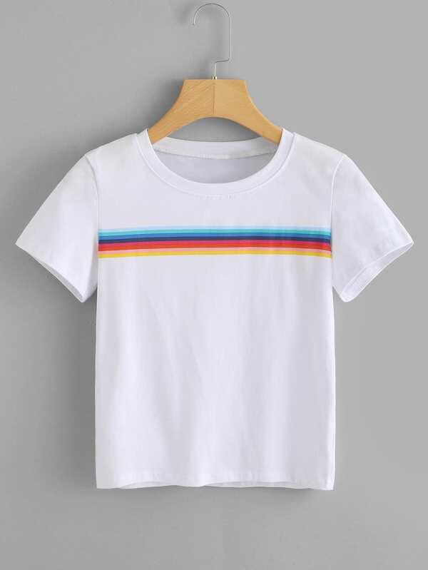 0b915cc485 Rainbow Stripe Panel Tshirt | SHEIN