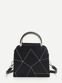 Geometric Design PU Handbag With Strap