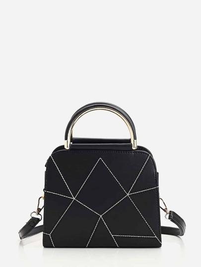 Geometric Design Pu Handbag With Strap Romwe