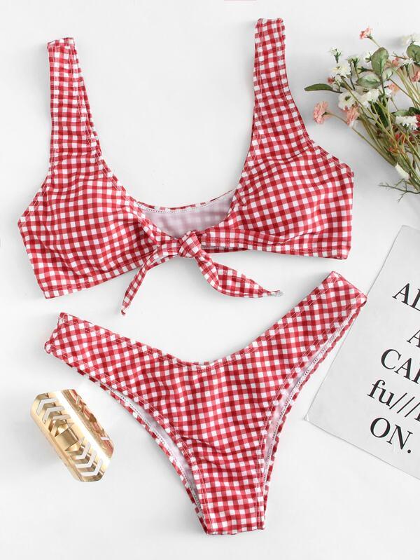 1c3f766d7b3bc Knot Gingham Top With High Cut Bikini Set | SHEIN