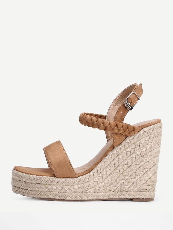 fbe10c7ff2504 Woven Detail Strappy Wedge Sandals -SHEIN(SHEINSIDE)