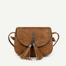 Double Tassel Flap PU Crossbody Bag
