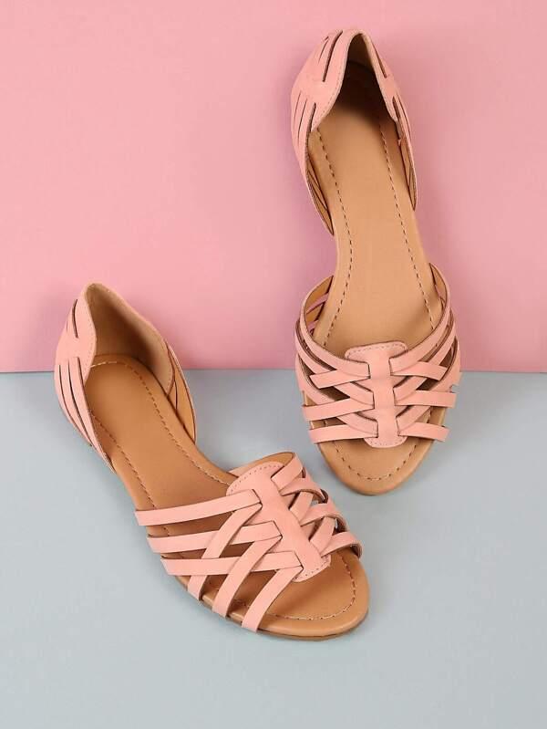8b23d94c6386 Strappy Criss Cross Flat Sandals PINK