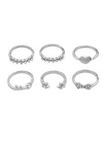 Silver Multi-Element Ring Six-Piece