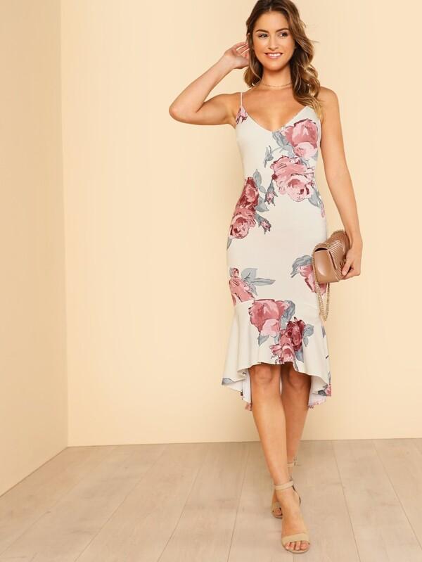 34e437a605 Flower Print Ruffle Dip Hem Cami Dress