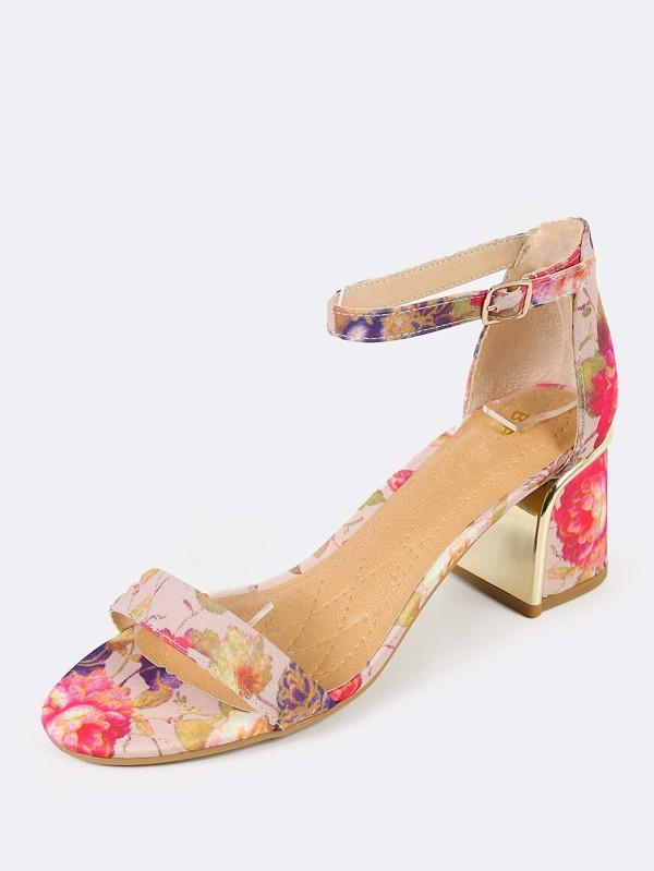da316e4eff96 Floral Print Gold Heel Accent Heels BLUSH
