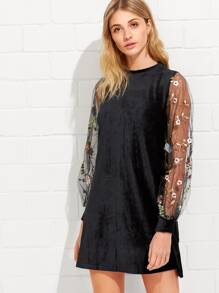 Tunic Dress With Embroidered Mesh Bishop Sleeve