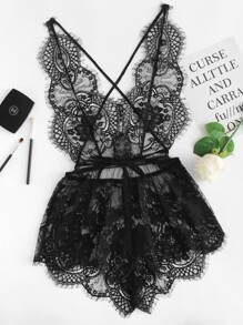Eyelash Lace Deep V Neck Sleep Romper