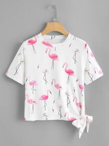 Knot Side Flamingo Print Tee