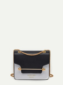 Piping Detail Two Tone Chain Bag