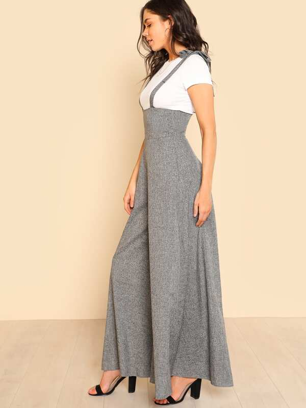 5076ea52ca7 Self Tie Strap Super Wide Leg Jumpsuit
