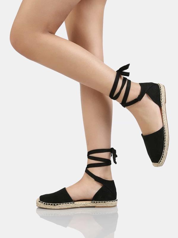 a24b3d5bb2a Lace Up Ankle Strap Espadrille Flat BLACK