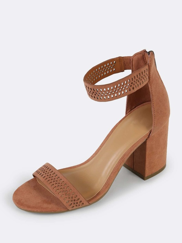 85cd0b100fa Faux Suede Cut Out Detail Single Band Ankle Strap Open Toe Heel MOCHA