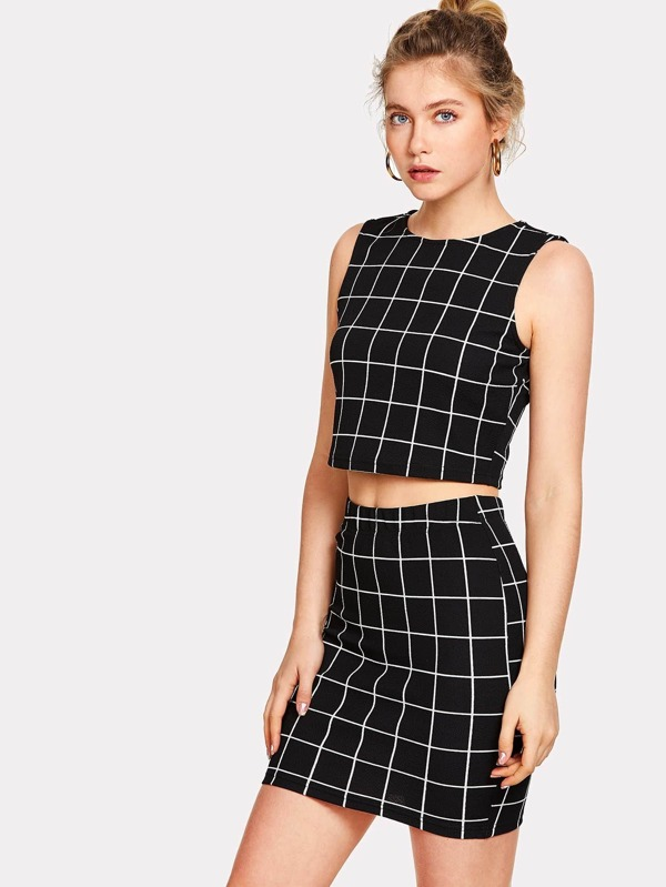 af5de0f768 Cheap Grid Crop Top And Skirt Co-Ord for sale Australia | SHEIN