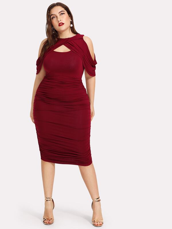 790ceedd7 Plus Draped Cold Shoulder Open Front Ruched Dress | SHEIN