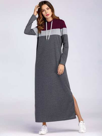 Color Block Split Side Hooded Sweatshirt Dress