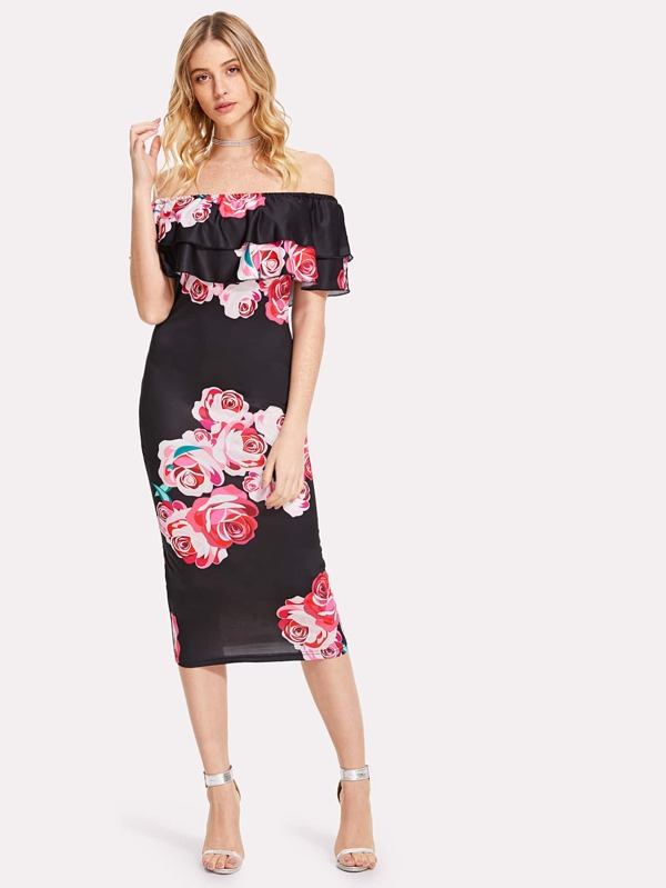 f2758615bc Flounce Bardot Neck Floral Pencil Dress. AddThis Sharing Buttons