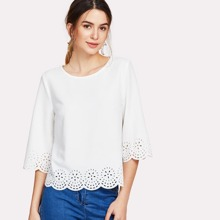 - Scallop Laser Cut Textured Blouse