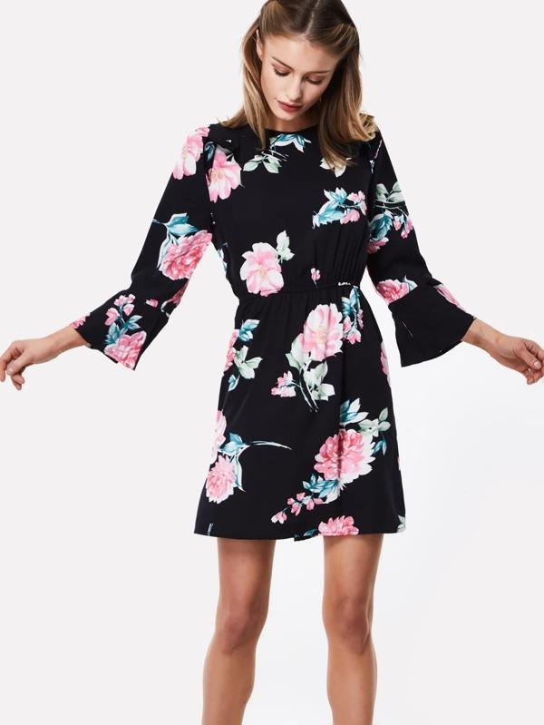 69af06d643b08 Floral Print Keyhole Back Dress   SHEIN UK
