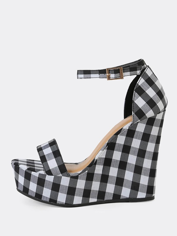 Band Ankle Strap Wedge With Black Gingham Sandal Single Platform OTXkZiuwP