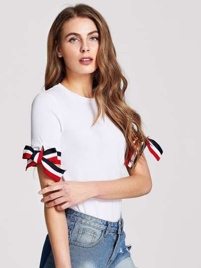 Knotted Striped Cuff T-shirt