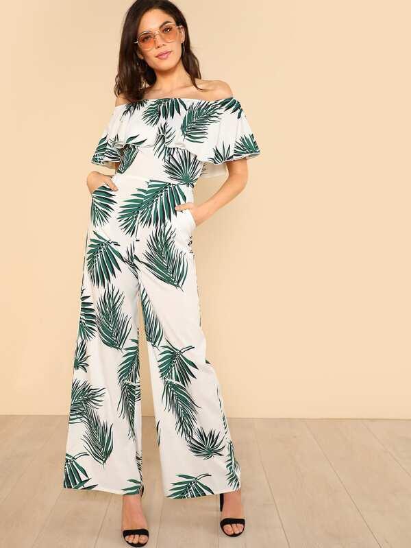 1fae4e85797 Tropical Print Flounce Off Shoulder Wide Leg Jumpsuit